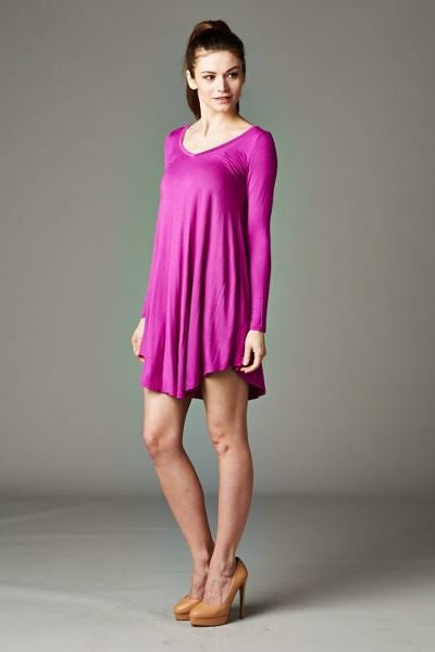 Boho Magenta Longsleeve V Neck Tunic Dress - GlamVault