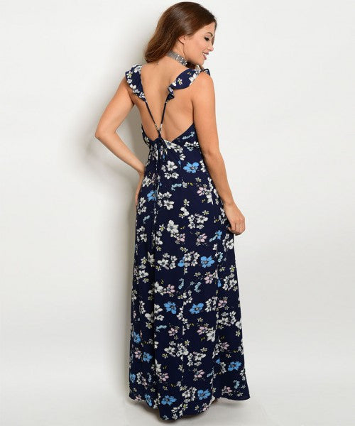 Navy with Ruffles Flowers Maxi Dress and Cross Cross Open Back - GlamVault
