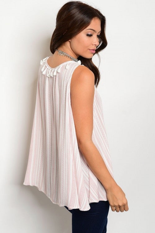 Off White & Mauve Striped Pattern Top Tunic with Tassels - GlamVault