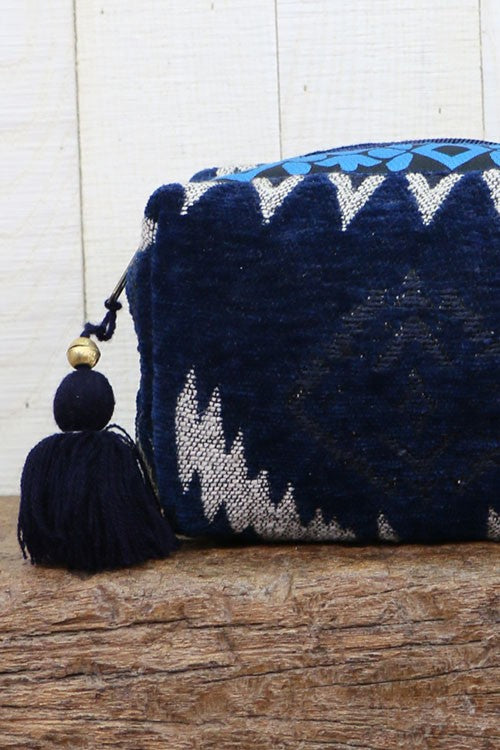 Navy Velveteen Ikat Makeup Bag