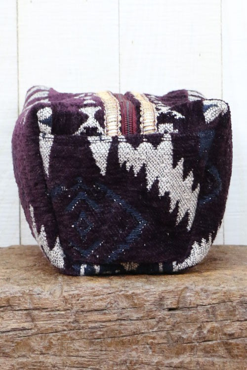 Plum Velveteen Ikat Makeup Bag