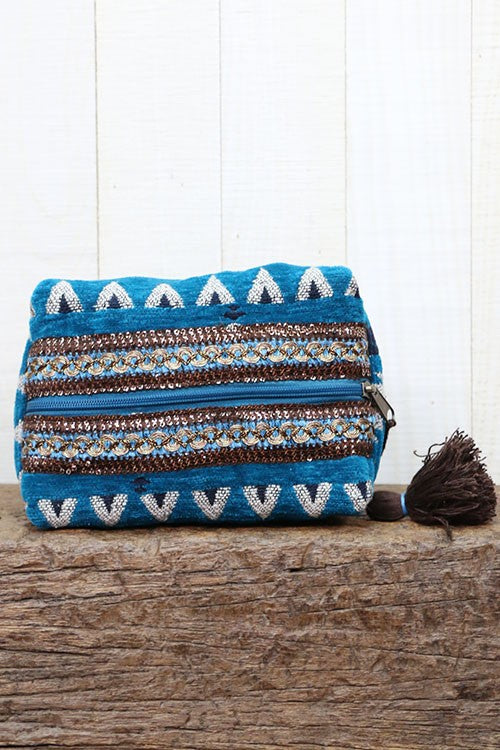 Teal Velveteen Ikat Makeup Bag