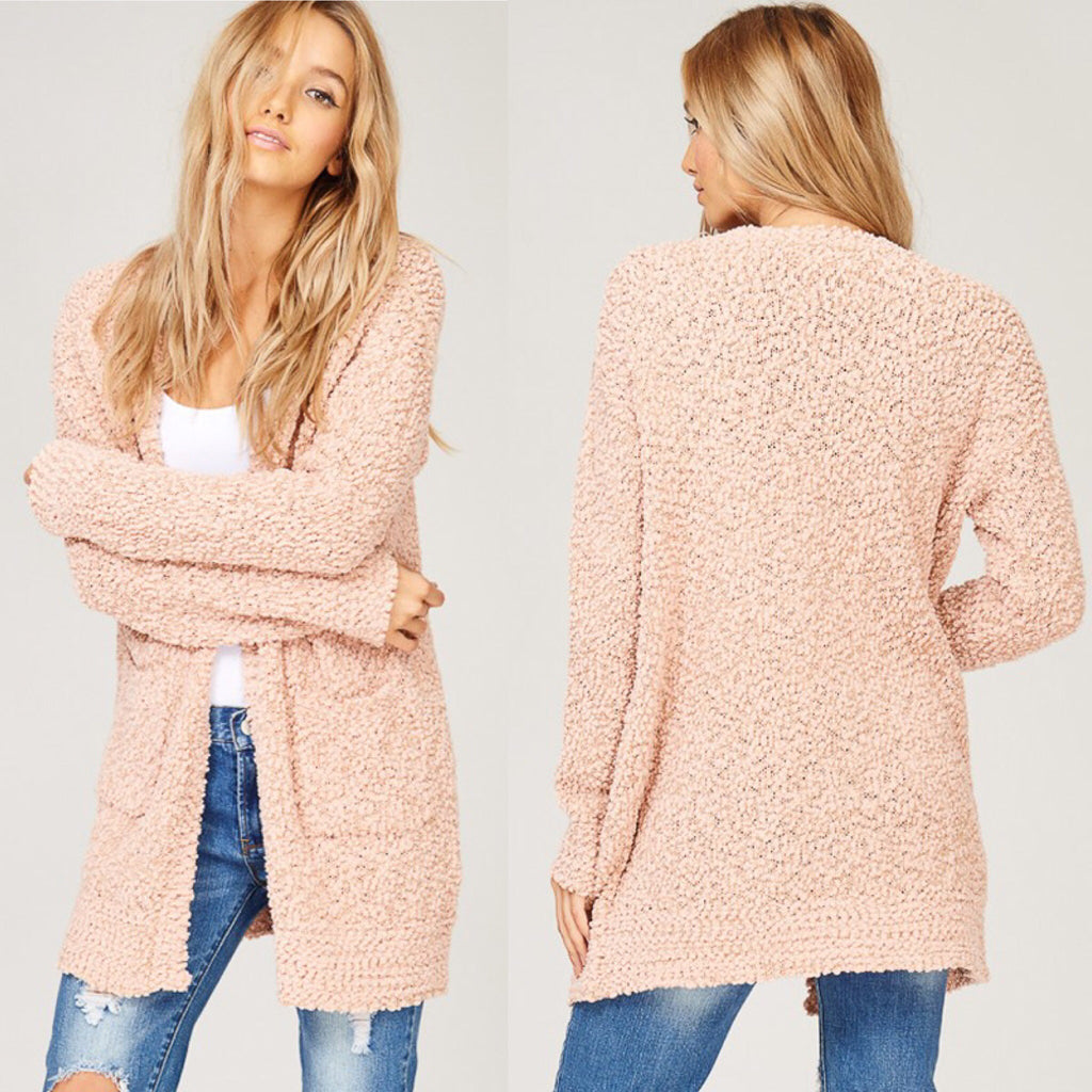 Blush Popcorn Cozy Pocket Open Cardigan - GlamVault