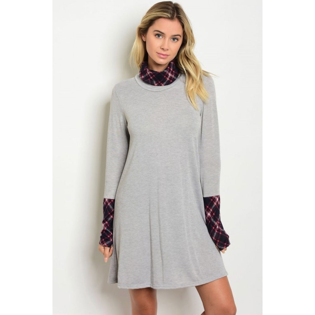 Gray Dress with Plaid Collar and Cuffs - GlamVault
