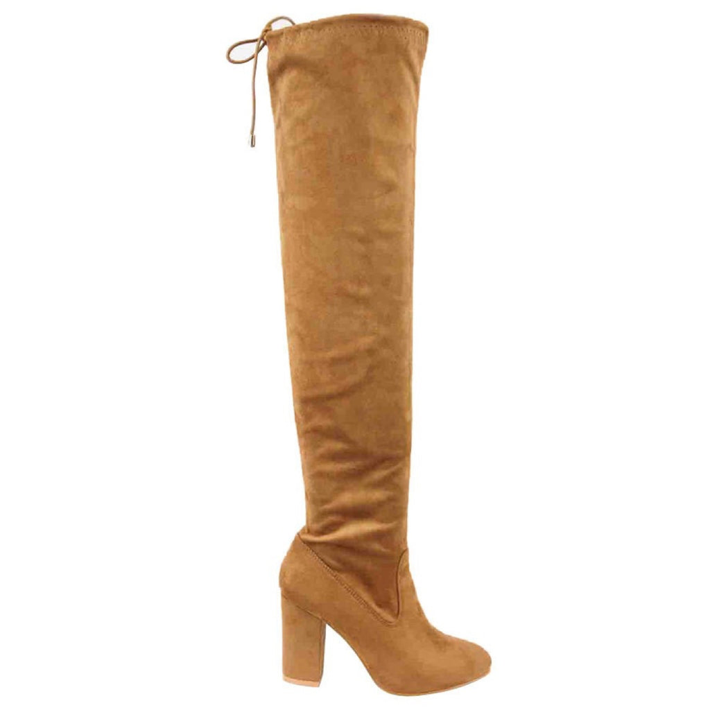 Camel Over The Knee Suede Boots - GlamVault
