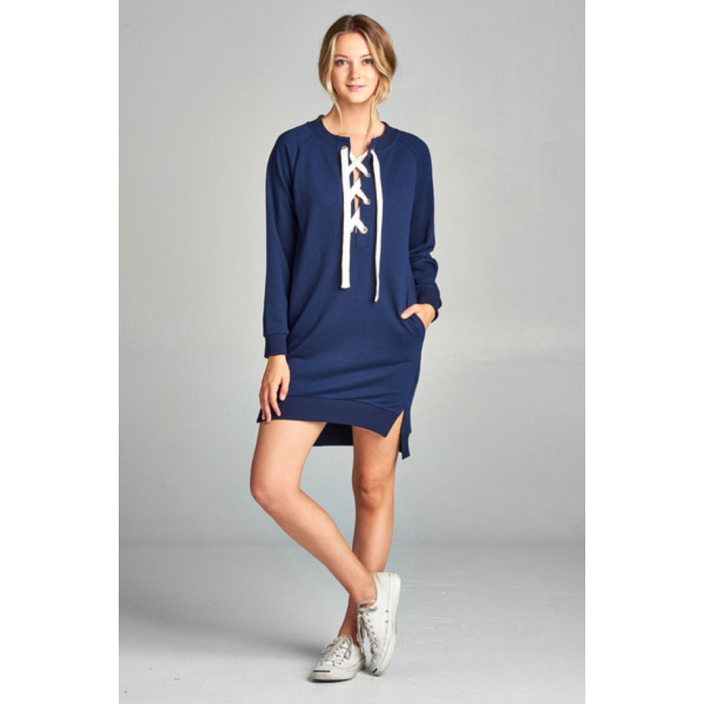 Navy Lace-Up Tunic Dress - GlamVault