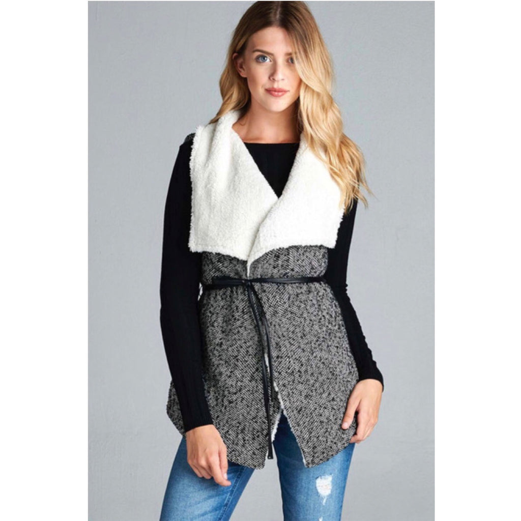 Black and White Tweed Vest with Sherpa Lining - GlamVault