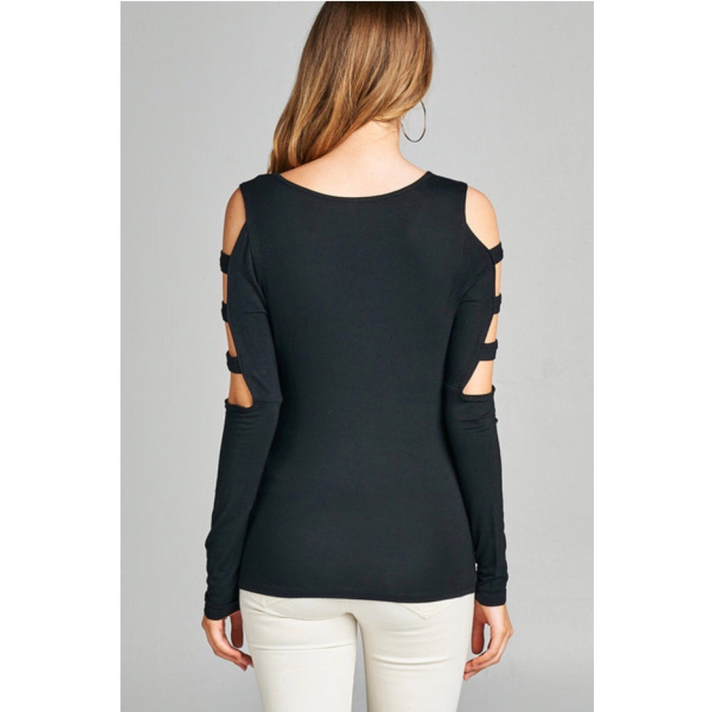 Black Long Sleeve Top with Sleeve Cut Outs - GlamVault