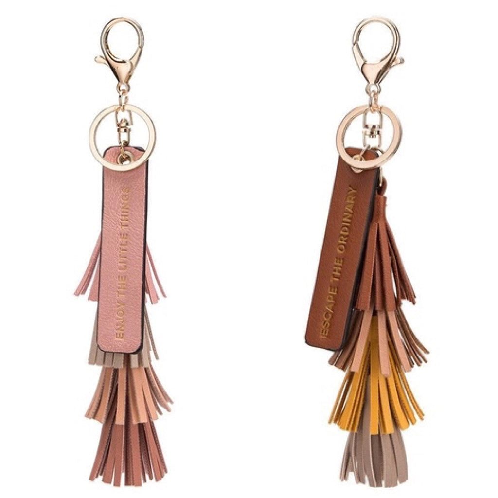 Melie Bianco Four Color Tassel Quote Key Ring in Pink - GlamVault