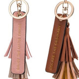 Melie Bianco Four Color Tassel Quote Key Ring in Saddle - GlamVault