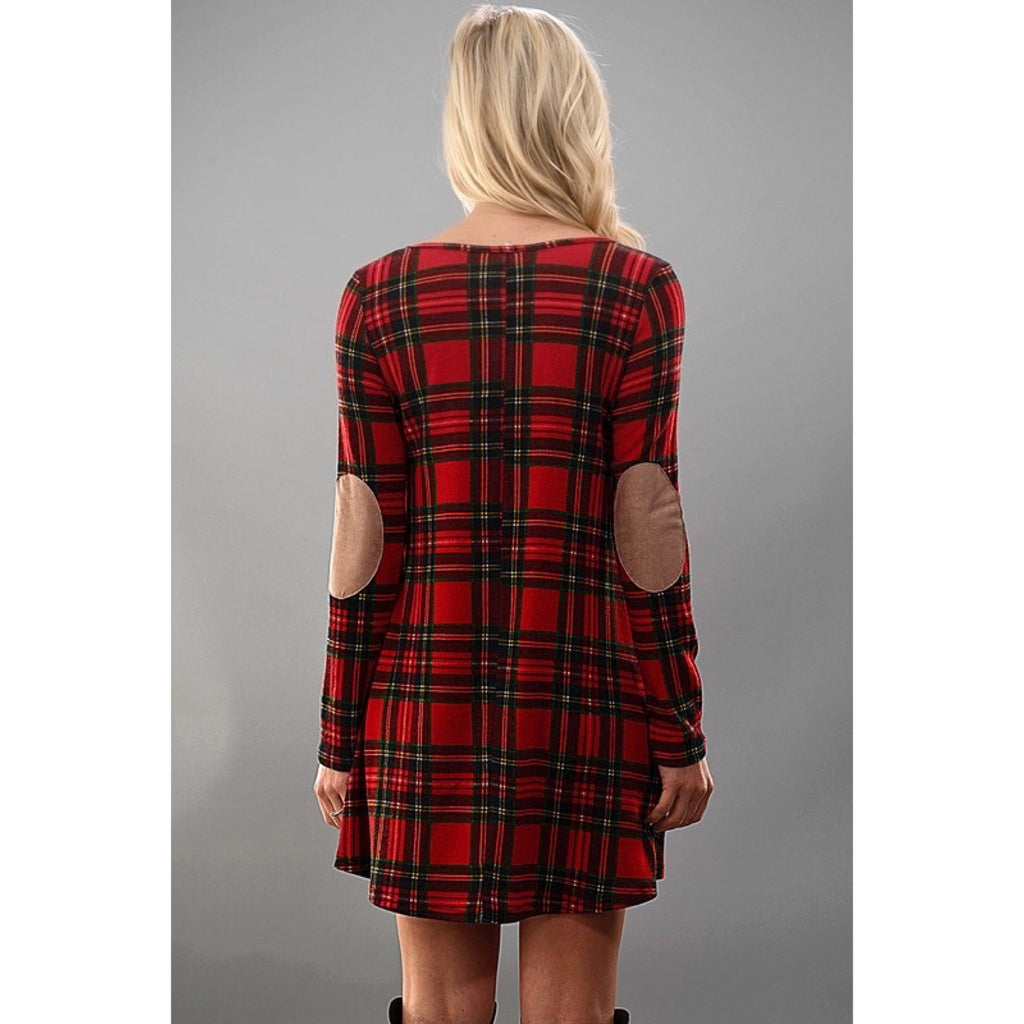 Plaid Dress with Elbow Patch - GlamVault