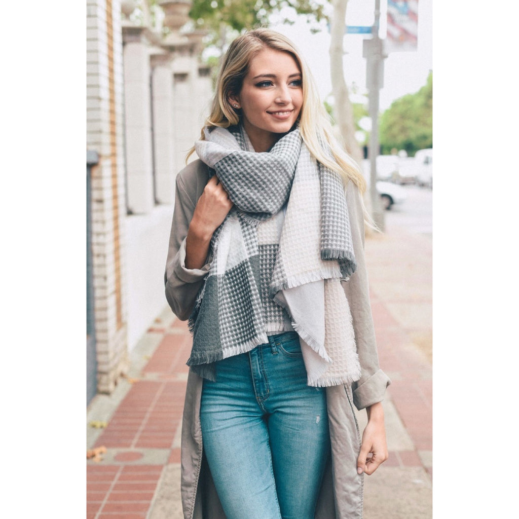 Gray and White Frayed Edge Scarf - GlamVault