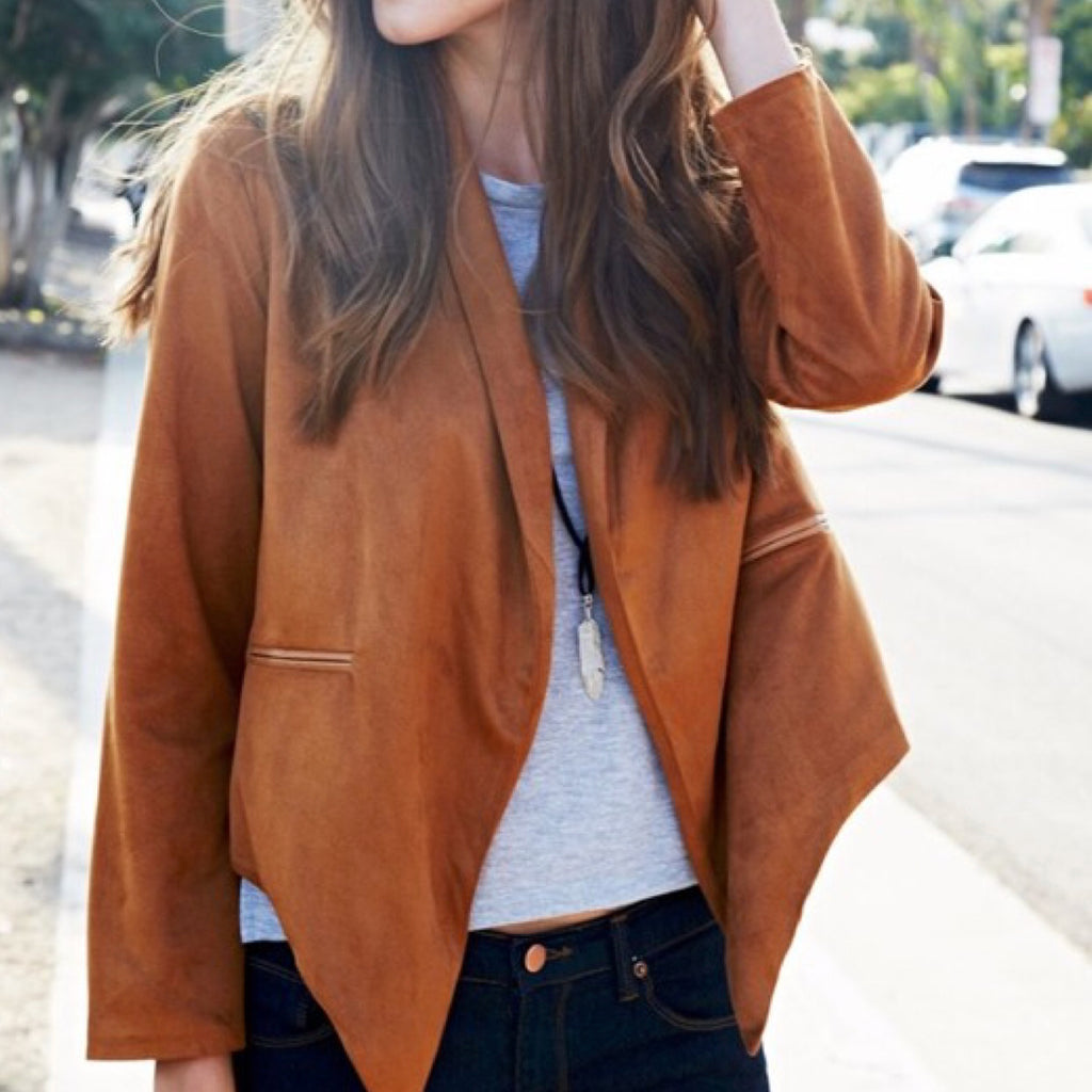 Camel Vegan Suede Waterfall Jacket - GlamVault
