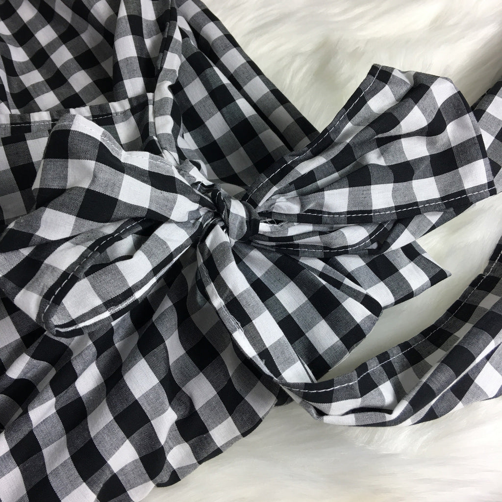 Gingham Check Woven Dress - GlamVault