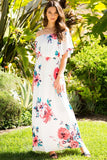 Ivory Double Ruffle Off Shoulder Floral Maxi Dress