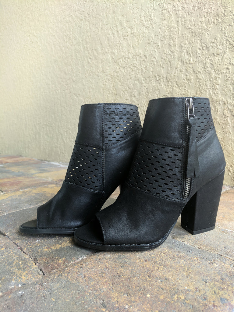 Black Open Toe Booties with Zipper - GlamVault
