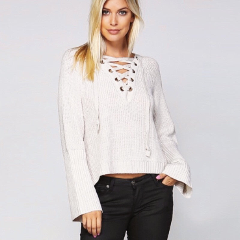 Stone Lace Up Pull Over Sweater