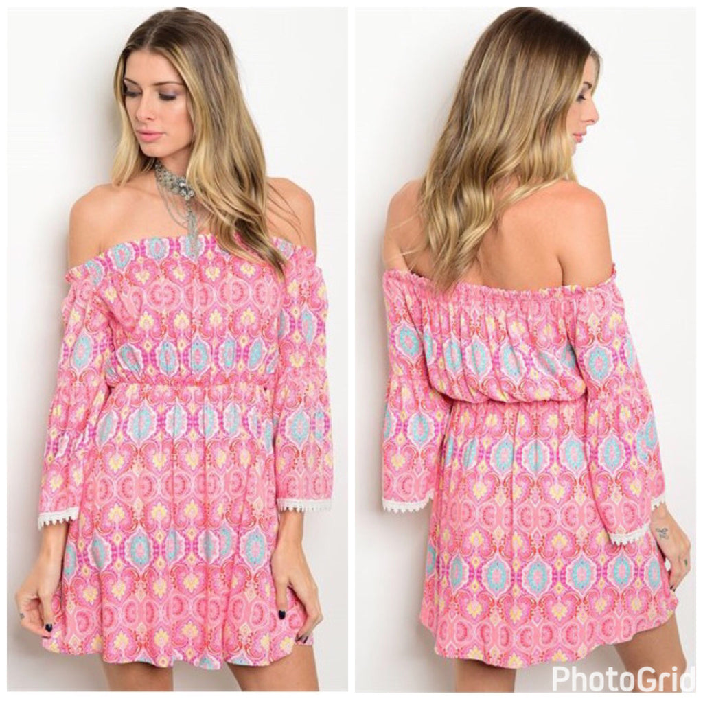 Pink Multi Color Off the Shoulder Paisley Print Dress - GlamVault