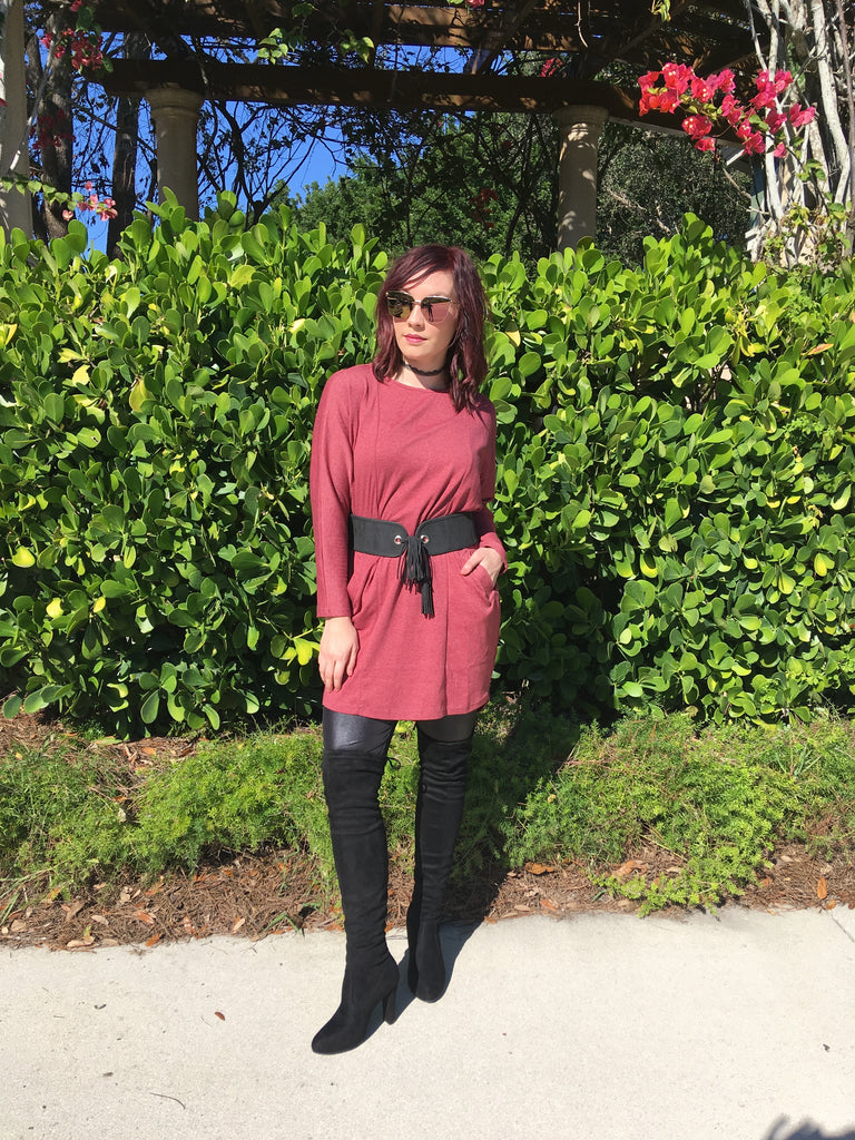Burgundy Pocket Sweater Dress