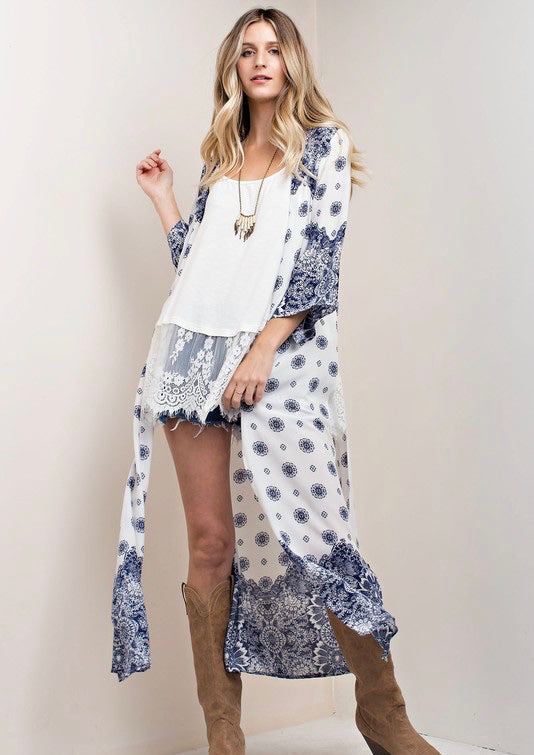Navy & White Side Slit Printed Woven Duster