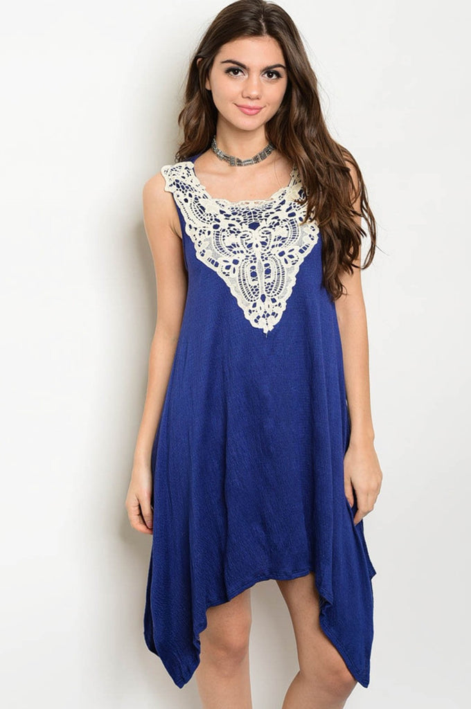 Blue & Cream Crochet Asymmetrical Dress - GlamVault