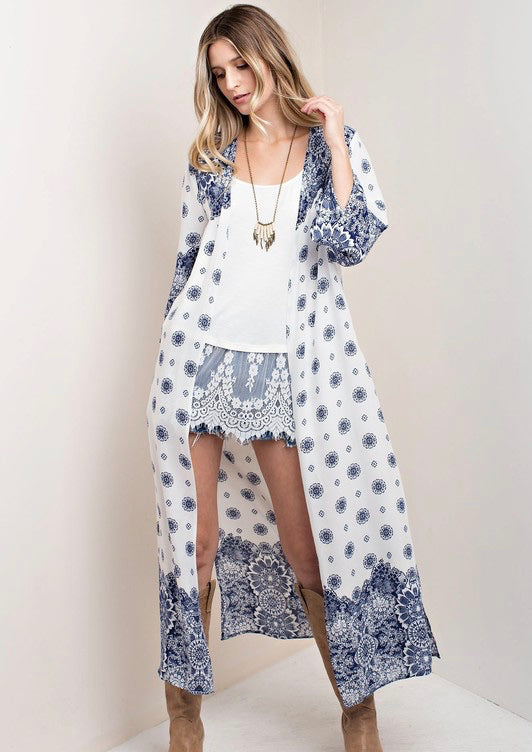 White/Navy Side Slit Printed Woven Duster