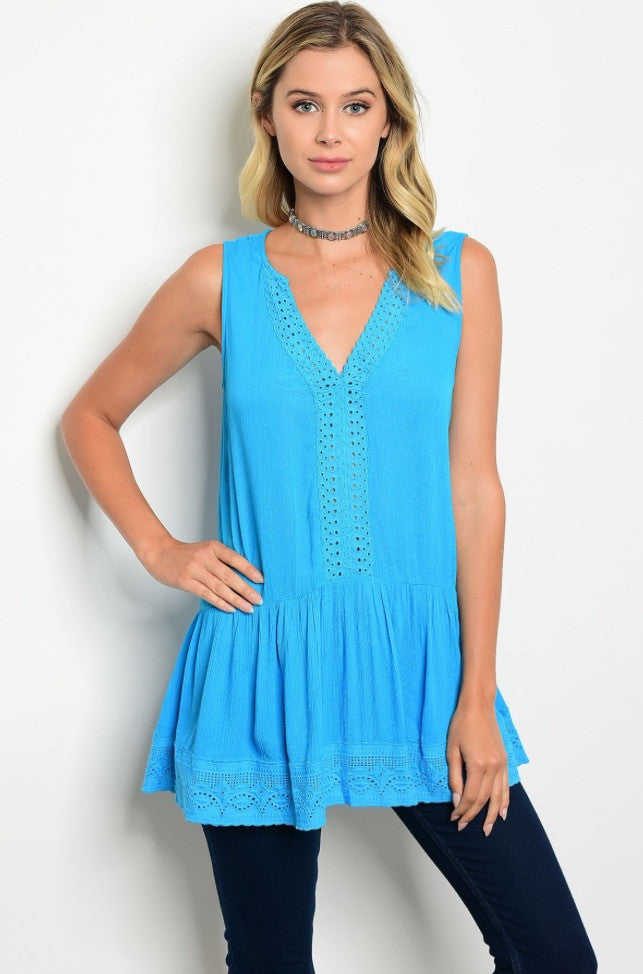 Aqua V-Neck Crochet Tunic Top