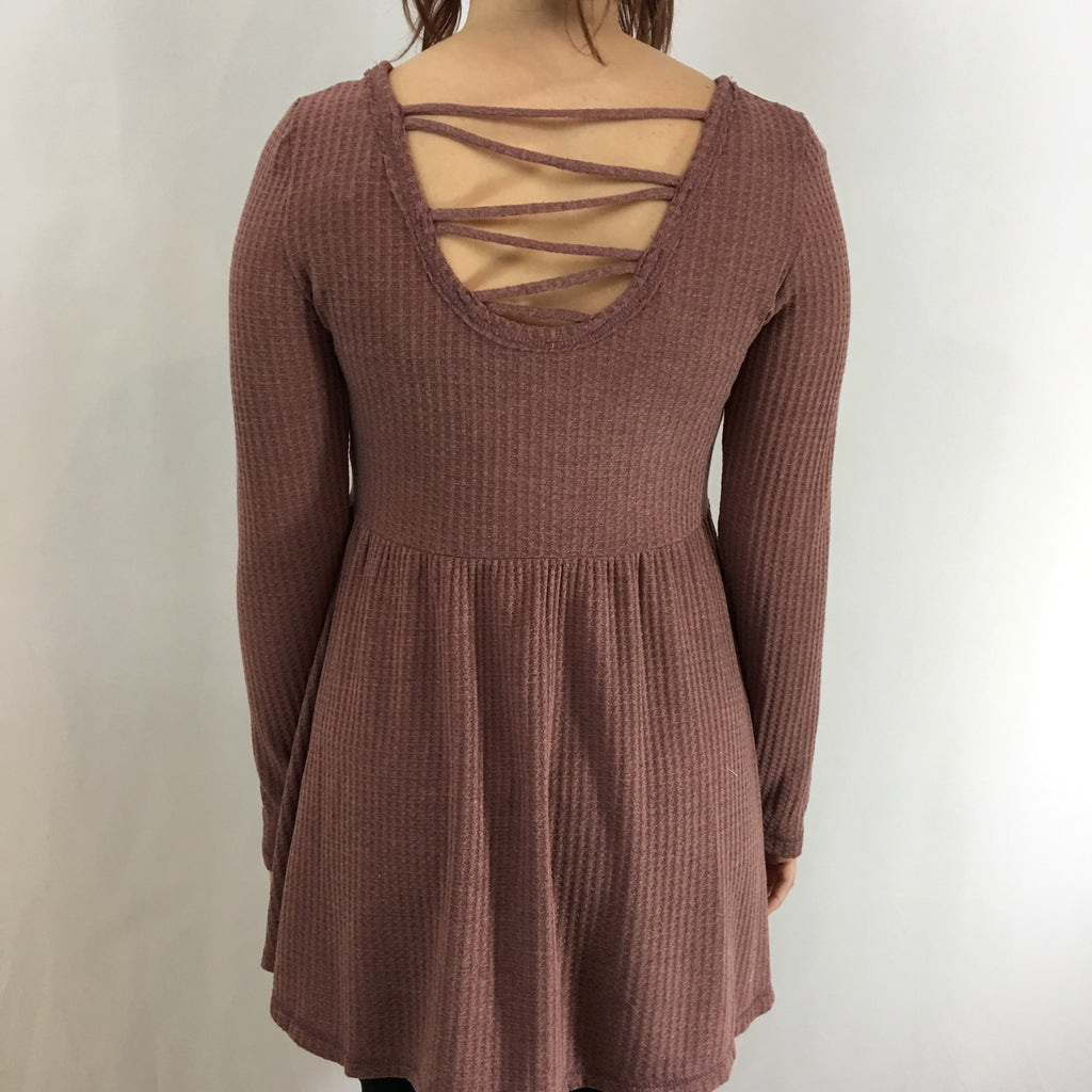 Soft Thermal Babydoll Tunic with Lace Up Back