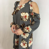 Cool Grey Cold Shoulder Floral Print Dress with Puff Sleeve - GlamVault