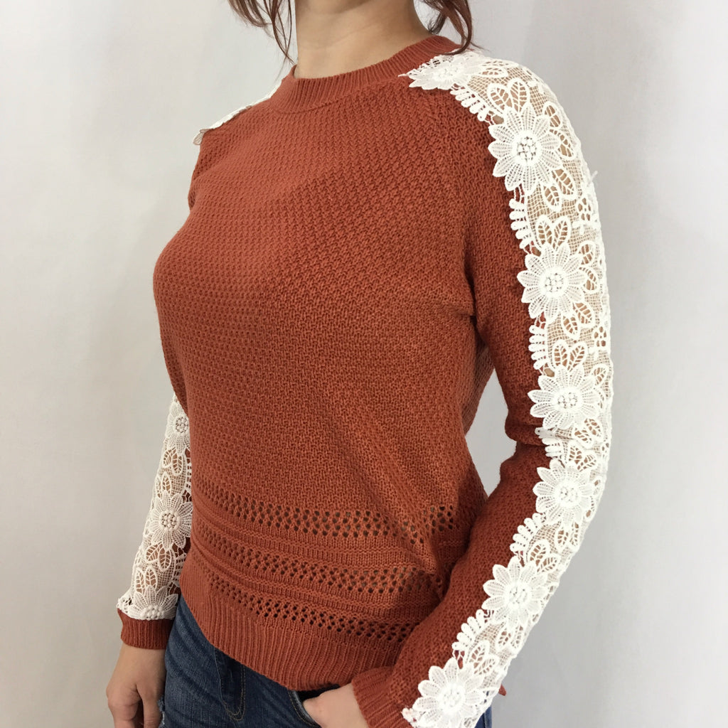 Brick Crochet Sweater with Lace Sleeves - GlamVault