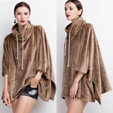 Ultra Soft Fleece Pullover Oversized Poncho - GlamVault