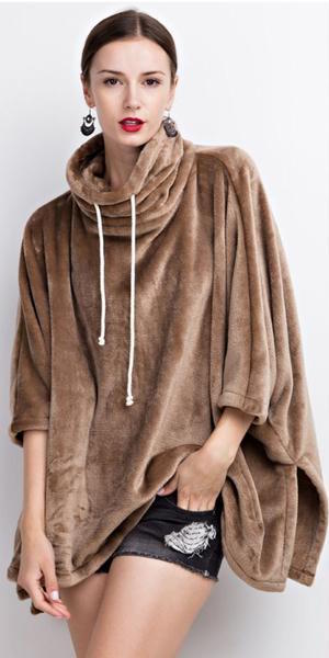Ultra Soft Fleece Pullover Oversized Poncho