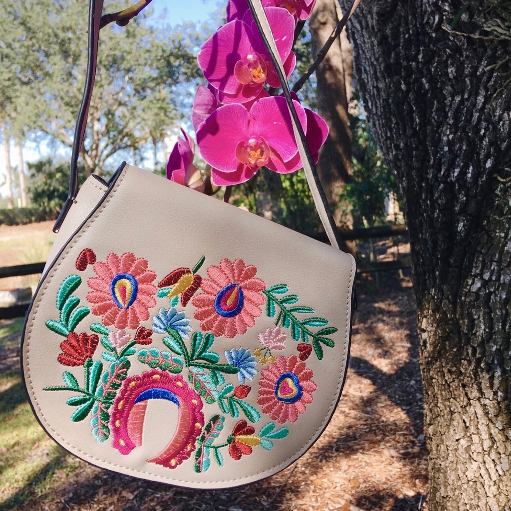 Grey Flower Embroidered Flap Crossbody Bag