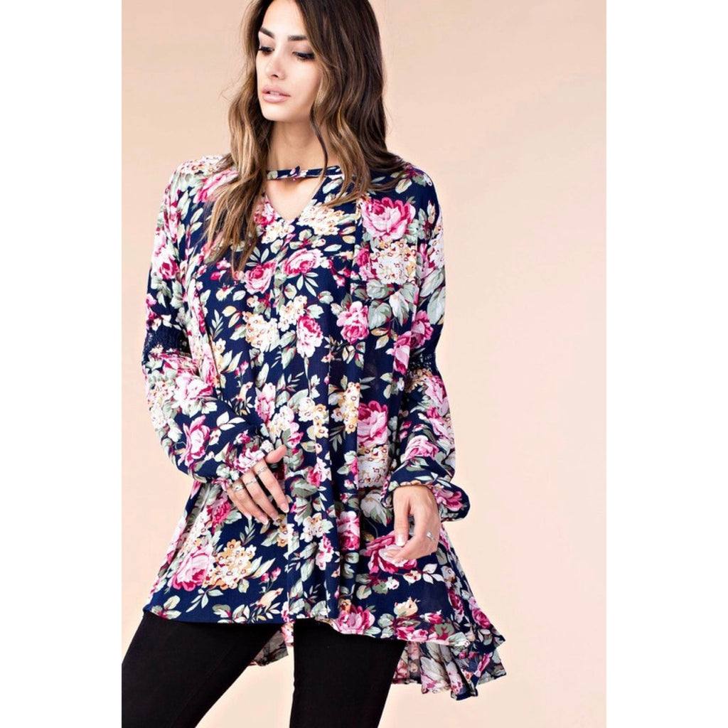 Floral Print Tunic Dress - GlamVault