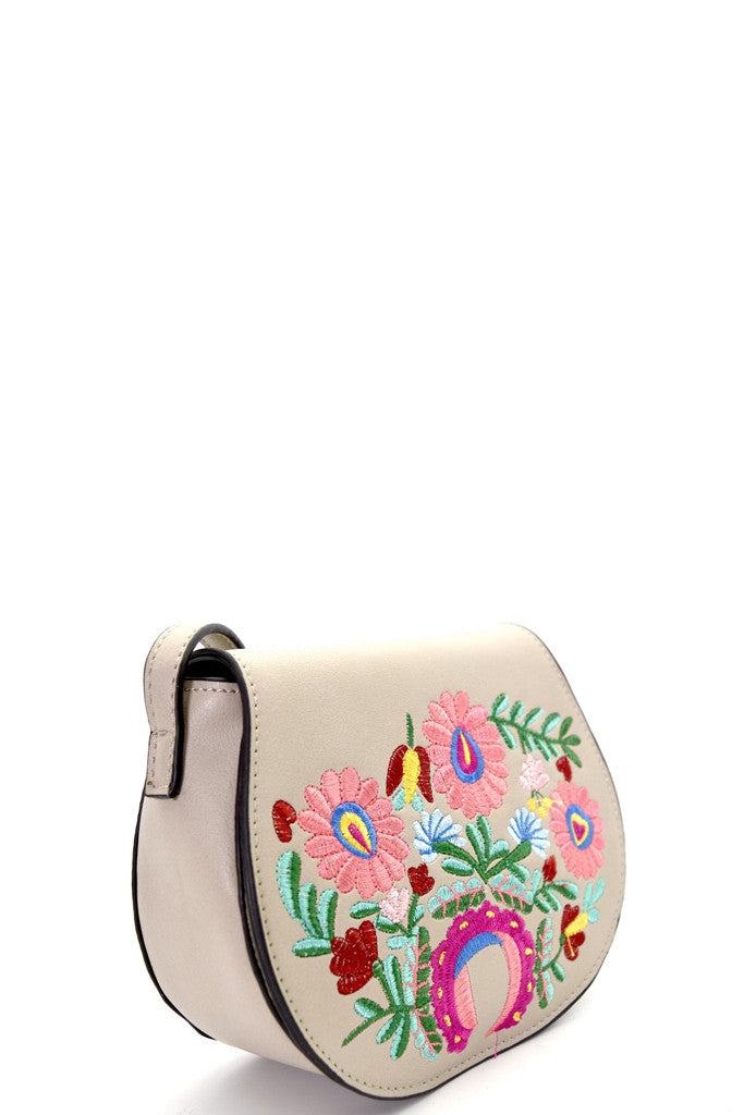 Tan Flower Embroidered Flap Crossbody Bag - GlamVault