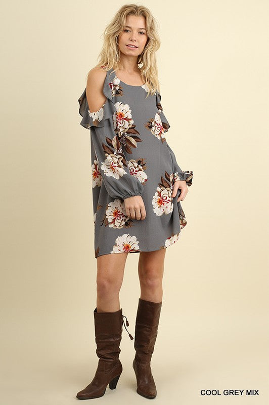 6dd5e4a34b54d ... Cool Grey Cold Shoulder Floral Print Dress with Puff Sleeve - GlamVault  ...