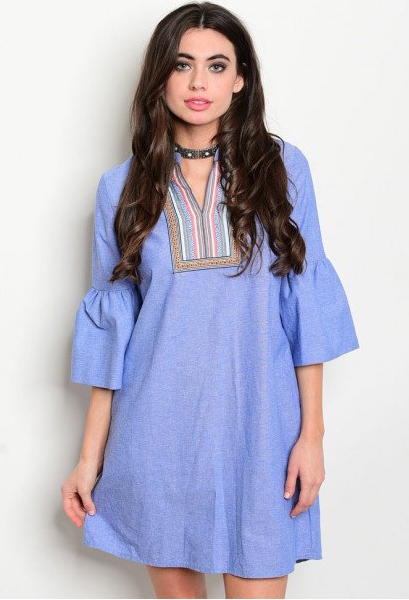 Chambray Boho Bell Sleeve Embroidered Dress - GlamVault