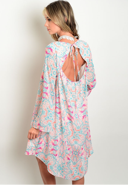 Boho Paisley Key Hole LongSleeve Dress - GlamVault