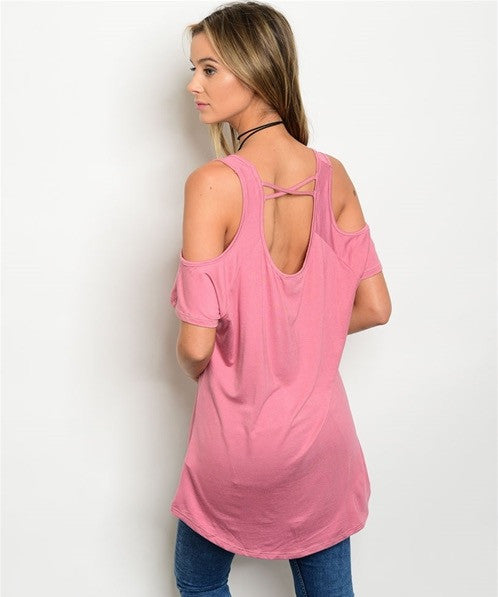Cold Shoulder Open Back Short Sleeve Tunic Top in Dusty Rose - GlamVault