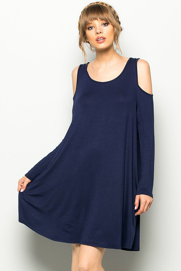 Navy Cold Shoulder Long sleeve Tunic Dress - GlamVault