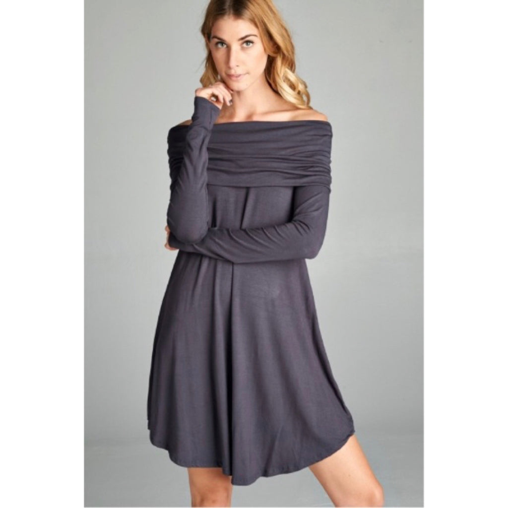 Steel Grey Off the Shoulder Round Hem Dress - GlamVault