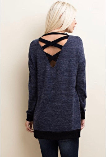 Navy and Black LongSleeve Hacci Top With Contrast Binding Deep V Back - GlamVault