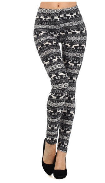 Snowflake and Reindeer Leggings - GlamVault