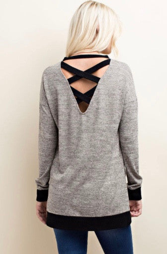 Grey and Black LongSleeve Hacci Top With Contrast Binding Deep V Back - GlamVault