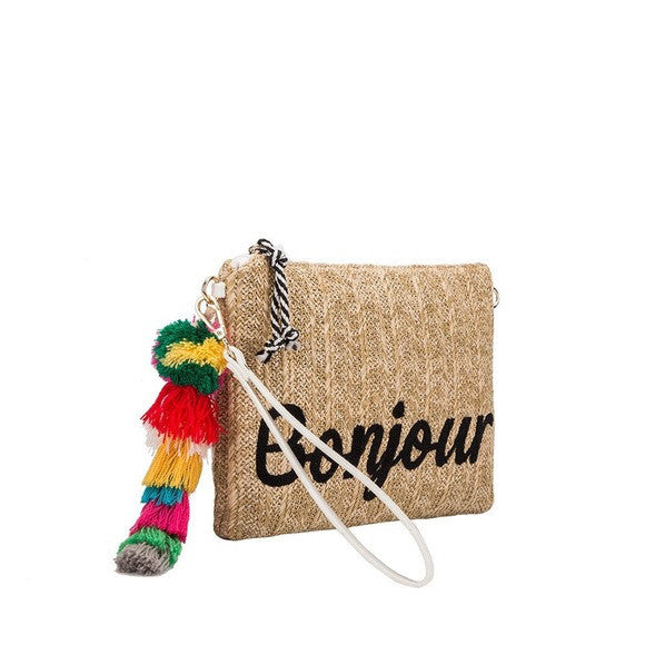 "Melie Bianco Straw Clutch Front Embroidery: ""Bonjour"" - GlamVault"