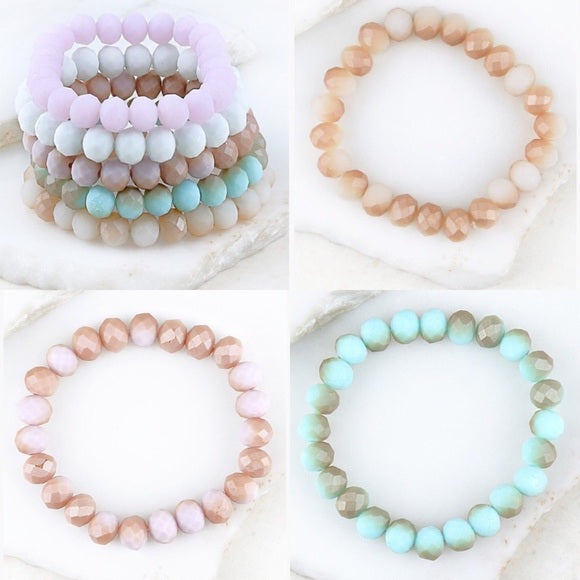 Frosted Matte Bead Stacked Bracelets - GlamVault