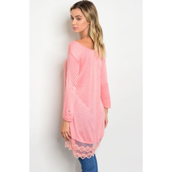 Blush Tunic Top with Lace Trim Detail - GlamVault