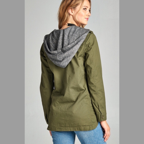Army Green Utility Hoodie Jacket with Flower - GlamVault