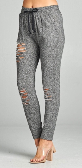 Heather Grey Distressed Skinny Joggers