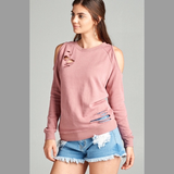 Dusty Pink Cold Shoulder Distressed Sweatshirt